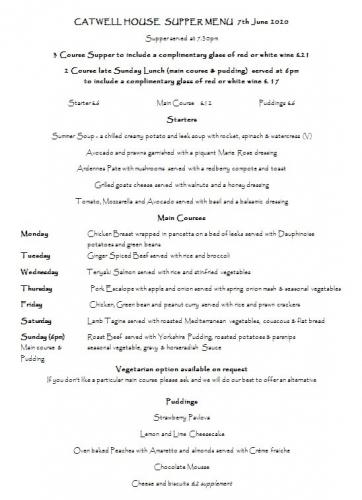 Catwell House dinner menu