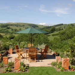 The Old Vicarage Powys bed and breakfast garden terrace views