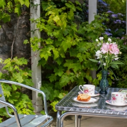 Penbontbren luxury B&B tea terrace