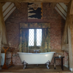 Upton Cressett Hall, B&B, the gatehouse bath