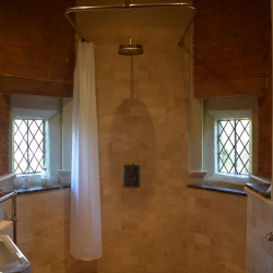 Upton Cressett Hall, B&B, the gatehouse ensuite shower