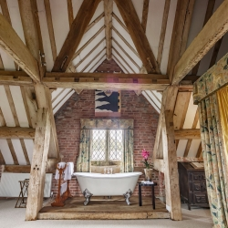 Upton Cressett Hall, B&B, the gatehouse regal bath