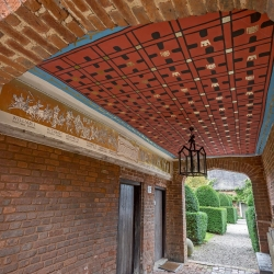 Upton Cressett Hall, B&B, the gatehouse exterior to garden